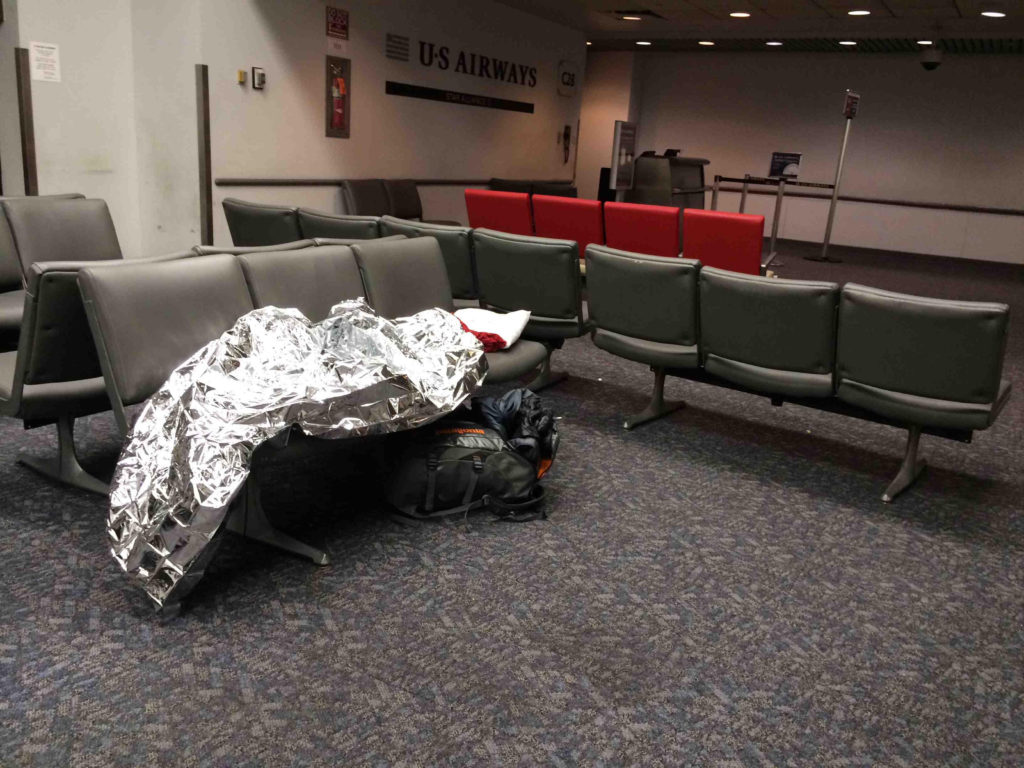 Sleeping in Philadelphia Airport